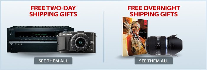 Adorama - Free 2 Day & Overnight Shipping Gifts