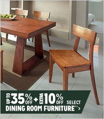 Up to 35% + Extra 10% off Select Dining Room Furniture**