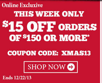 $15 Off Orders Of $150 Or More.