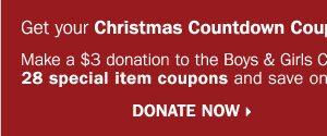 Get your Christmas Countdown Booklet  in-stores or online today! Donate now.