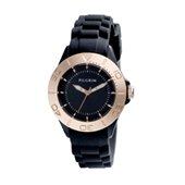 Watch, Rose gold plated, Black