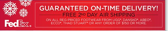 Save on great gifts from UGG® Australia, Zealand, Dansko & more gifts of comfort. Plus, shop the season's ultimate UGG® Australia styles and enjoy a FREE ultra-suede wristlet with any regular-priced UGG® Australia purchase. Enjoy FREE 2nd Day Shipping with any regular-priced footwear from UGG® Australia, Dansko, ECCO, ABEO and Thad Stuart or any order of $150 or more.* Shop now to find the best selection at The Walking Company.