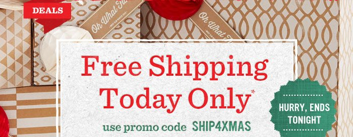 Free Shipping Today Only*. Use promo code SHIP4XMAS
