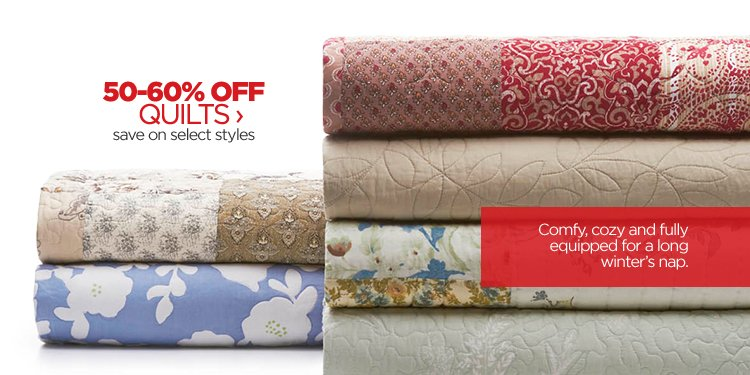 50-60% OFF QUILTS › save on  select styles | Comfy, cozy and fully equipped for a long winter's  nap.