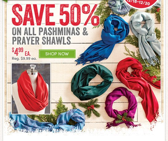 3 Days Only! Save 50% on All Pashminas & Prayer Shawls