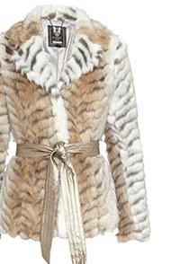 Zebra Belted Faux Fur Coat
