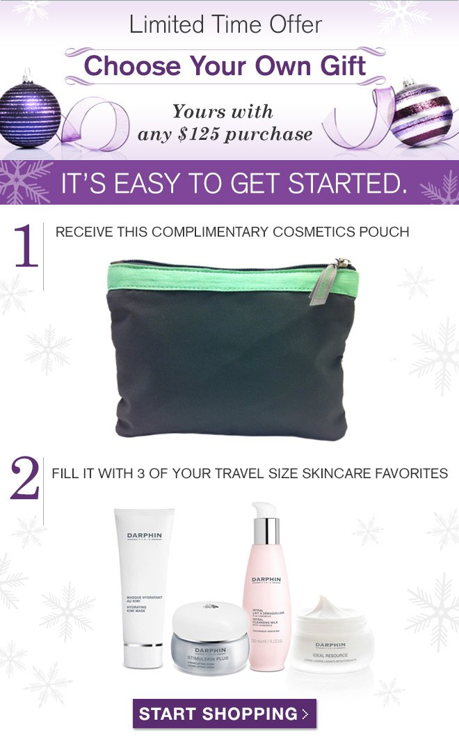 Receive a complimentary cosmetics pouch and fill with 3 of your travel size skincare favorites.