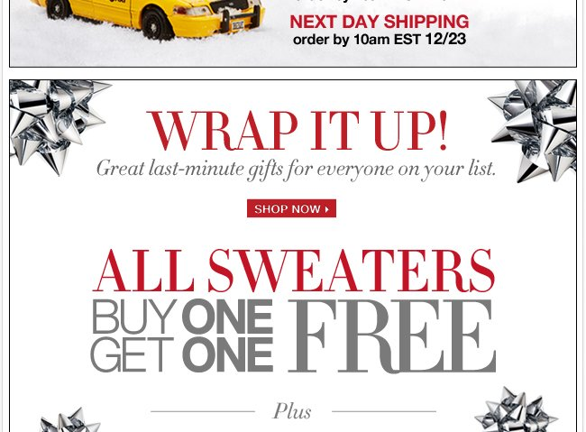 Buy One, Get One FREE Sweaters!