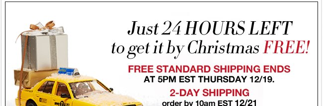 24 hours left to get it by Christmas! FREE Standard Shipping ends 5pm EST 12/19.