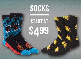 Socks start at $4.99