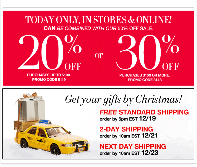 Today only! Save up to 30% Off + FREE Standard Shipping!