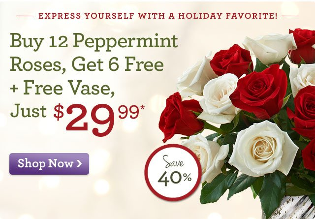 Express Yourself with a Holiday Favorite! Buy 12 Peppermint Roses, Get 6 Free + Free Vase, just $29.99  Shop Now   Save 40%!  Shop now