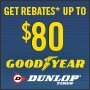 Goodyear/Dunlop Get Rebates Up to $80