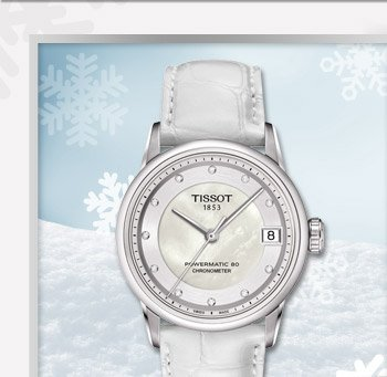 Luxury Automatic $1225 Silver Diamonds Dial and White Leather Strap