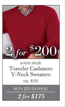 2 for $200 USD - Traveler Cashmere V-Neck Sweaters