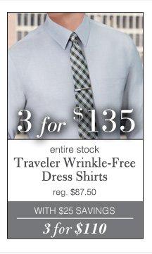 3 for $135 USD - Traveler Wrinkle-Free Dress Shirts