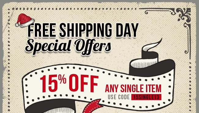 Get 15% off any single item plus free 3-day shipping upgrade.
