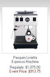 Pasquini Livietta Espresso Machine  Regularly: $1,075.00   Event Price: $913.75