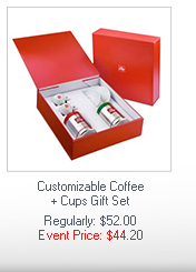 Customizable Coffee + Cups Gift Set  Regularly: $52.00  Event Price: $44.20