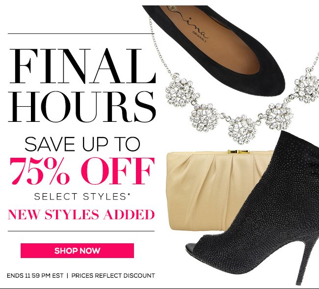Final Hours Sale Up To 75% Off