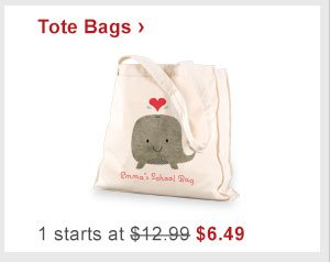 Tote Bags › 1 starts at $12.99 Now $6.49