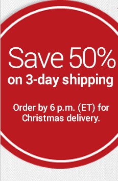 Save 50% on 3-day shipping Order by 6 p.m.(ET) for Christmas delivery.