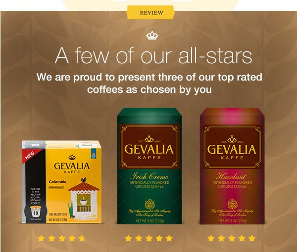 REVIEW. A few of our all-stars. We are proud to present three of our top rated coffees as chosen by you.