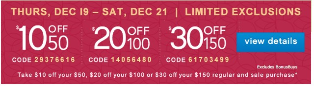 10/20/30 off. Limited Exclusions. View detials.