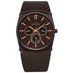 Skagen 759LDRD Men's Denmark Brown Dial Black IP Steel Leather Strap Multifunction Watch