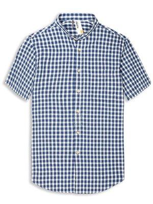 Plectrum Short Sleeve Grandad Collar Gingham Shirt