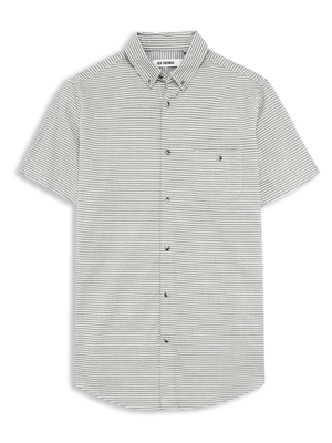 Short Sleeve Laundered Horizontal Stripe Shirt