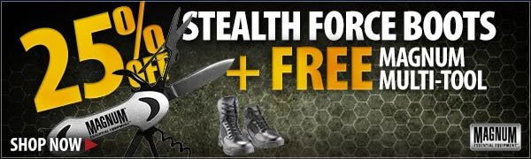 25 percent Off Magnum Stealth Force Boots + Free Gift!