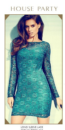 Long Sleeve Lace Sequin Dress