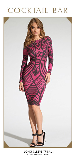 Long Sleeve Tribal Midi Dress