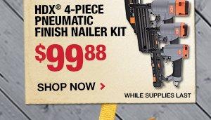 $99.88 HDX 4 Piece Pneumatic Finish Nailer Kit