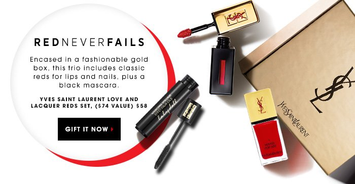 RED NEVER FAILS. Encased in a fashionable gold box, this trio includes classic reds for lips and nails, plus a black mascara. Yves Saint Laurent Love and Lacquer Reds Set, $58 ($74 value) GIFT IT NOW