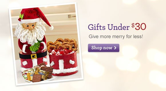 Gifts Under $30 Give more merry for less! Shop Now