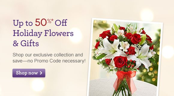 Save Up to 50% Up to 50%* Off Holiday Flowers & Gifts Shop our exclusive collection and save-no Promo Code necessary! Shop Now
