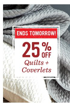Hours left! 25% off quilts + comforters
