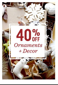 40% off ornaments + decor