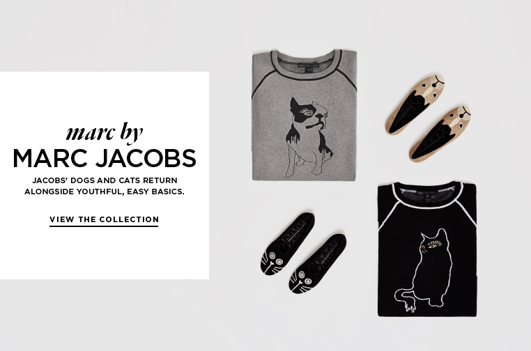New friends from Marc by Marc Jacobs Jacobs' dogs and cats return alongside youthful, easy basics.