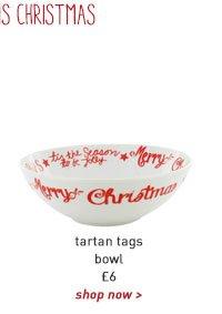 tartan tags bowl