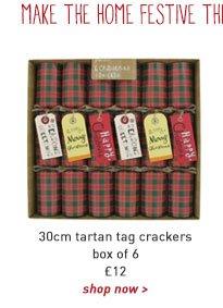 30cm tartan tag crackers - box of 6