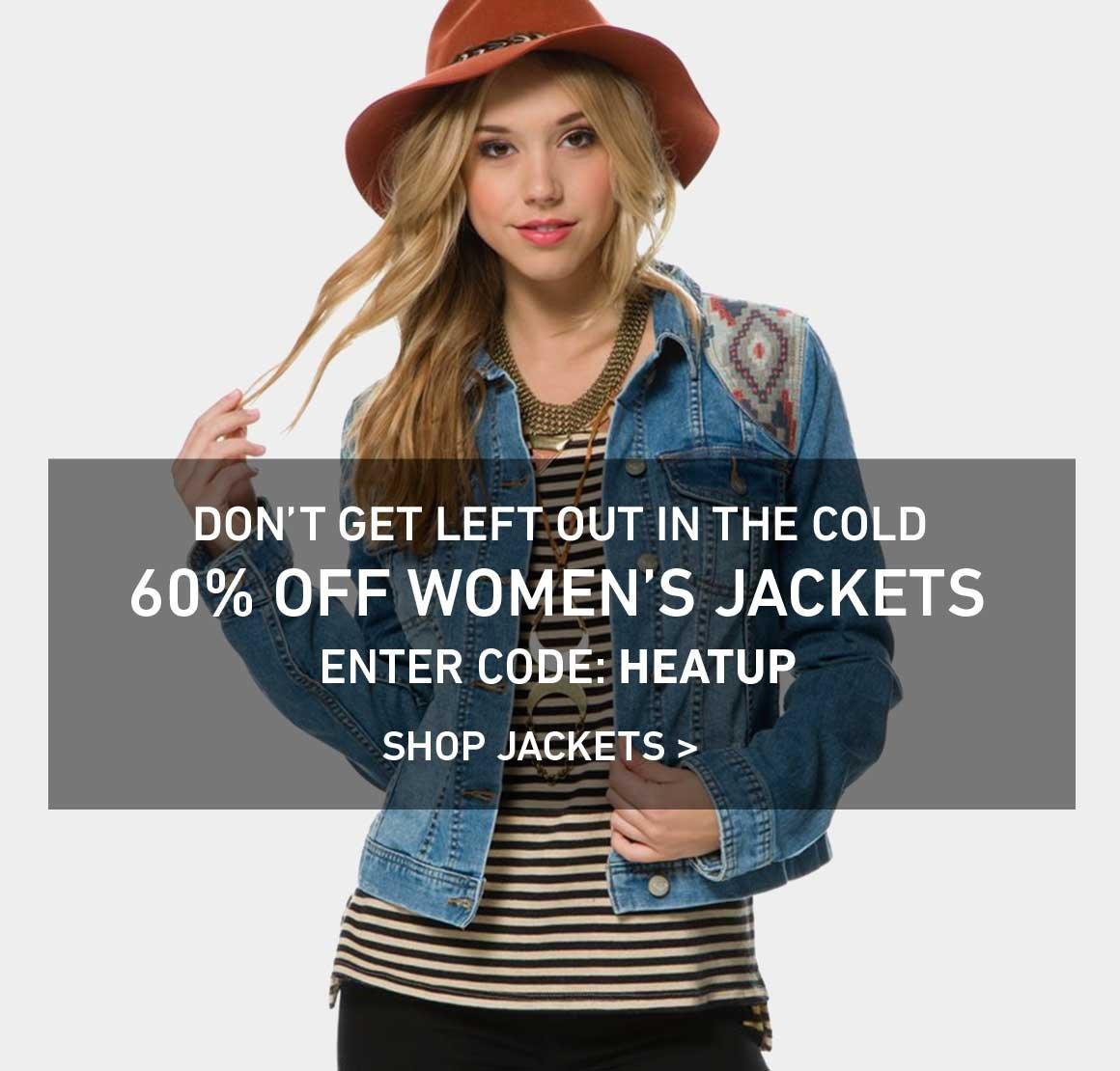 60% Off Women's Jackets!