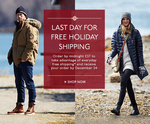 LAST DAY FOR FREE HOLIDAY SHIPPING