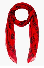 ALEXANDER MCQUEEN Red & black FO SKULL scarf for men
