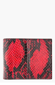 ALEXANDER MCQUEEN Red & black snakeskin MONEY CLIP wallet for men
