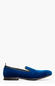 ALEXANDER MCQUEEN Royal blue velvet skull-embroidered loafers for men