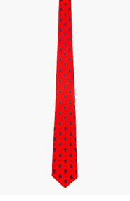 ALEXANDER MCQUEEN Red & blue silk MICROSKULL print tie for men