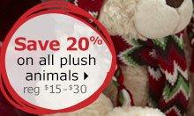 Save 20% on all plush animals